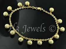 18k yellow gold charm bracelet ball  bracelet  diamond cut 5.30 h3jewels #844
