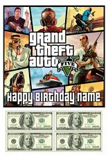 Grand Theft Auto V Edible Cake Topper 4 $100 Bills 7.5in Square PreCut FREE P&P