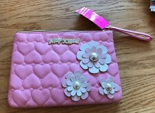 Betsey Johnson Quilted Heart, Pink Daisy & Pearl Clutch NWT, Wristlet NWT
