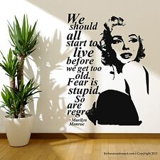 Marilyn Monroe Quote Regret Wall Decal Stickers Decor Easy Removable Sticker