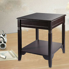 End Table Side Storage Stand Night Accent Table Shelf Wood Living Room Furniture