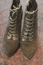 Mossimo Women's Stiletto Lace Up Boots Faux Suede Black Size 9