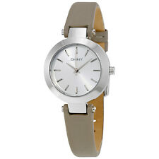 DKNY Stanhope Silver-White Dial Ladies Gray Leather Watch NY2456