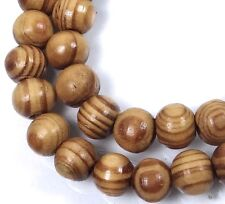 "8mm Natural Wood Round Rocaille Beads 15""  2mm hole"