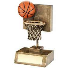 RESIN BASKETBALL TROPHY SHOOTING NET WITH BALL AWARD13.3cm FREE ENGRAVING RF315A