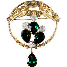 Joseff of Hollywood Cherub Brooch Pin Victorian Revival Green & Clear Rhinestone