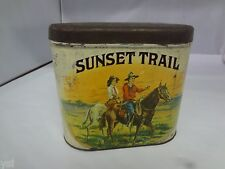 VINTAGE TOBACCO TIN SUNSET TRAIL CIGAR ADVERTISING COLLECTIBLE  718-P