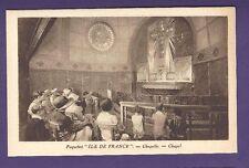 SS Ile de France B&W Postcard - Chapel - French Line