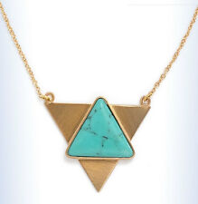 "BP Gold-Tone GEO Triangle Turquoise-Resin Stone PENDANT 18"" Necklace"