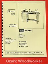 "CRAFTSMAN/ATLAS 101.28991 12"" Metal Lathe Operators & Parts Manual 0795"