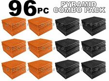 ComBo 96 pack ORANGE & charcoal GREY Acoustic Pyramid Sound Studio Foam 12x12x1