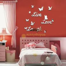 3D DIY Butterfly Live Love Laugh Mirror Wall Home Decal Decor Vinyl Art Stickers