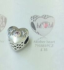 Pandora Mothers Day Gift Charm M��M pink Cz ' Mother Heart ' Shaped Stone New