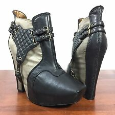 Sam Edelman Zoe Ankle Harness Boots Black Leather With Almond Grey Size 9.5 M