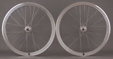 H Plus + Son SL42 Polished Silver Singlespeed Track Fixed Gear Bike Wheelset 32H