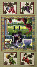 Wine Country Quilt Fabric Panel Vinyard Grapes Napa 100% Cotton 23.5 x 43 Inches
