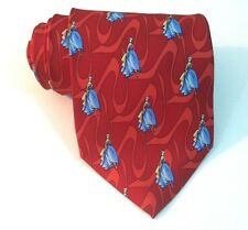 BALLY Switzerland NECK TIE Red Woman in Blue dress MADE IN ITALY 100% SIlk