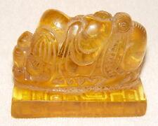Alte Elephant Statue mit Petschaften Siegel Dichtung Seal, aus Bernstein / Amber