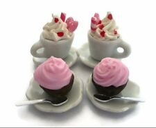 Miniature Set of Pink Coffee and Bakery Dollhouse Miniatures Food Bakery Yummy