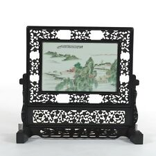 A Large and Rare Chinese Porcelain Plaque Table Screen, Republic Period.