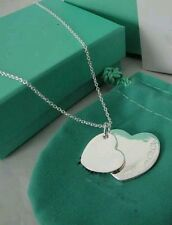 STAMPED 925 silver 2 heart pendant necklace LOVERS FRIEND Christmas GIFT +BAG