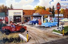 "Ken Zylla Full Service Gas Station Art Print  12"" x 8"""