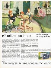 1920's BIG Vintage P & G Procter Gamble Soap Tricycle Bike Kids Art Print Ad