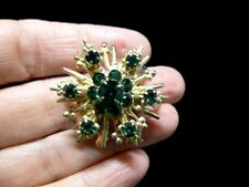 VTG-1930's-Gold Tone Atomic/Starburst Green Rhinestone Brooch/Pin