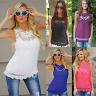 Fashion Summer Womens LadyLoose Casual Chiffon Sleeveless Lace Shirt Tops Blouse