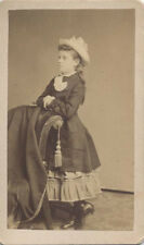 CDV PORTRAIT OF YOUNG GIRL W/ COWBOY HAT   POSING STAND - BRIDGEPORT, CT