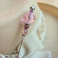 HATPIN WITH SPLENDID LARGE PINK CRYSTAL - SILVER FINISH - SOCIETY HAT PINS