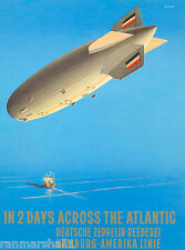 Deutsche Zeppelin Germany German European Vintage Travel Advertisement Poster