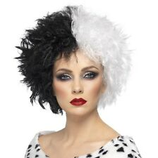 Ladies Halloween Fancy Dress Evil Madame Cruella Wig Black/White New by Smiffys