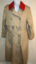London Fog Womens Ladies Khaki Red Trench Raincoat Coat Size 12 R