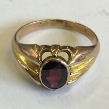 Antique Solid 9ct Rose Gold Hallmarked Men's Garnet Signet Ring Size P 1919