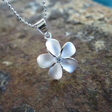 20mm Plumeria Flower Hawaiian Genuine Sterling Silver Pendant Necklace #SP43901
