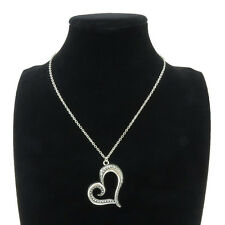 """6-5 Silver 37mm Big Heart Love Pendant Short Chain Collar Chunky Necklace 18"""""""