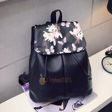 Girl School Leather Bag Travel Backpack Satchel Women Shoulder Rucksack Floral
