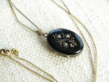 Antique GOLD & black enamel memory locket with chain ~