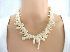 "Vintage White Natural Raw Coral 17"" Thick Large & Small Branch Necklace"