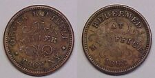 1863 Oliver Boutwell Store Card Token Patriotic Troy, New York Very Fine Vf