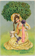 NEW YEAR – Girl and Four Leaf Clover Plant - 1912