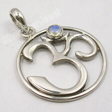 925 Sterling Silver RAINBOW MOONSTONE OHM OM New Pendant 3.5CM Indian Jewelry