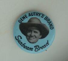 Gene Autry's Brand Sunbeam Bread Vintage Lapel Souvenir Button