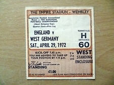 Tickets- 1972 Henri Delaunay Cup Quarter Final ENGLAND v WEST GERMANY, 29 April