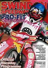 Speedway Programme SWINDON SPROCKETS v RYE HOUSE & OXFORD Oct 2003