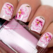 Pink Lily Rose Wedding Nail Art Design Decals Water Transfers Stickers #159