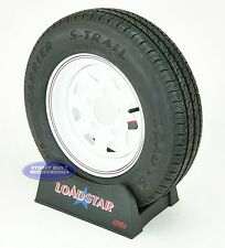 "(2)- Trailer Tire and Wheel ST145 R12 White Spoke 5 Lug, 5 on 4 1/2"" Pattern"