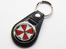 RESIDENT EVIL UMBRELLA CORP Video Game Premium Leather & Chrome Keyring