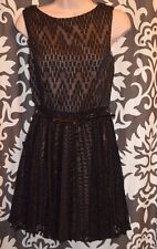 Adrianna Papell Lace Nude Black Overlay Dress Sexy Pleated $178 Nordstrom SIZE 2